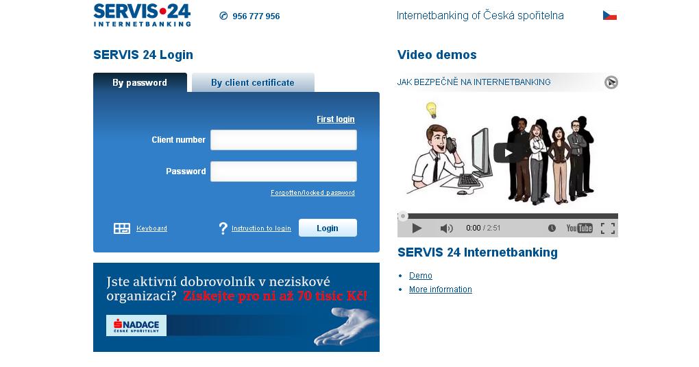 Česká spořitelna nabízí internetové bankovnictví s názvem Servis24